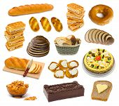 Set of bread and cakes isolated on white background