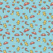 Seamless pattern of colored children's toys