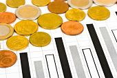 Coins and diagram, abstract business background