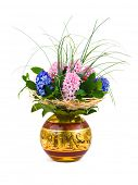 Flowers in vase isolated on white background