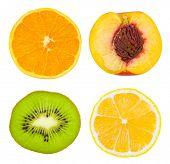 Set of fruit slices isolated on white background