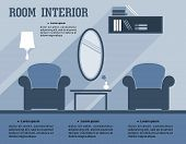 Room interior infographic template