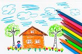 Child's drawing and pens, abstract art background