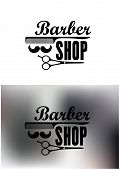 stock photo of barber  - Barber Shop emblems or labels with the text decorated with a comb - JPG