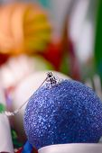 Blue Christmas Ball Close Up, New Year Decorations