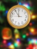 Clock and christmas tree - holiday background