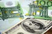 Packs Of Dollars And Euro Money