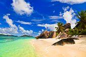 Beach Source d'Argent at island La Digue, Seychelles - vacation background