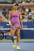 Five times Grand Slam champion Martina Hingis during final doubles match at US Open 2014