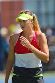 Five times Grand Slam champion Maria Sharapova practices for US Open 2014