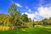 Golf field at island Praslin, Seychelles - sport background