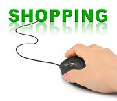 Hand with computer mouse and word Shopping - internet concept