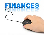 Hand with computer mouse and word Finances - business concept