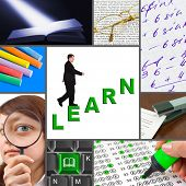 Collage of education images (my photos) - concept background