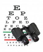 Binoculars on eyesight test chart isolated on white background