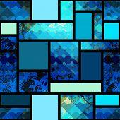 Grunge geometric pattern with circles.