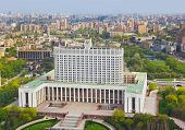 White House, center of Russian government in Moscow, Russia - aerial view