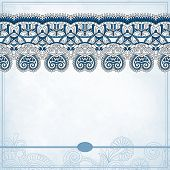 Ornamental floral pattern with place for your text, in grunge ba