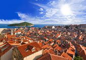 Town Dubrovnik in Croatia at sunset - travel background