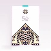 decorative sheet of paper with oriental floral design and place
