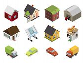 Isometric Retro Flat Cars House Real Estate Icons and Symbols Set Isolated Vector Illustration