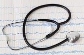 Stethoscope on ecg - medical background