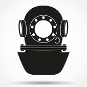 Silhouette symbol of Underwater diving helmet. Vector Illustration