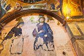 Mosaic interior in Chora Kariye church at Istanbul Turkey - architecture background