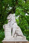 stock photo of armorial-bearings  - Stone lion with a board in paws near the Vajdahunyad lock in Budapest - JPG