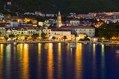 Town Makarska in Croatia at night - travel background