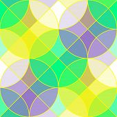 picture of semi-circle  - Abstract geometric seamless pattern with multicolored semi transparent tiles in the shape of circles and squares looks like the stained glass vector EPS8 - JPG