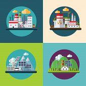 Flat design vector ecology concept illustration