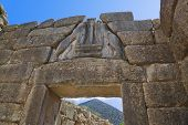 Lion Gate at Mycenae, Greece - archaeology background