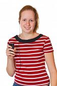 Girl with mp3 player isolated on white background