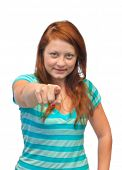 Pointing woman - isolated on white background
