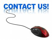 Computer mouse and word contact us - business concept