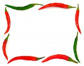 Frame made of red hot chili pepper isolated on white background