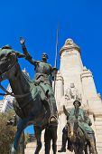 Don Quixote and Sancho Panza statue on Plaza de Espana - Madrid Spain