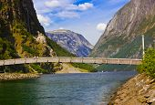 Bridge across fjord Sognefjord in Norway - nature and travel background