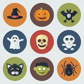picture of wraith  - Funny Halloween Circle Icons Set in Flat Style - JPG