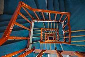 Spiral staircase in hotel - abstract interior background
