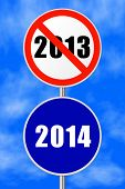Round sign 2014 - New Year concept - sky on background