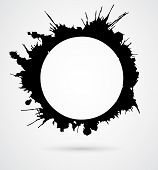 Black round brush strokes, made of ink splashes with grey drop shadow.