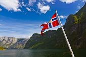 Norway flag and Sognefjord - nature and travel background