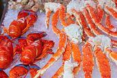 Fresh seafood in fish market - food background