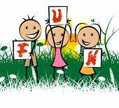 Kids Fun Represents Free Time And Enjoy