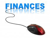 Computer mouse and word Finances - business concept