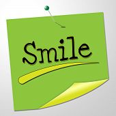 Smile Note Shows Happy Optimism And Correspondence