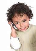 Cute Kid Talking On The Phone poster