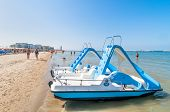 Boats And People On The Beach In Cervia, Italy